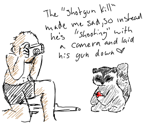 caveman (with shotgun) shoots a racoon