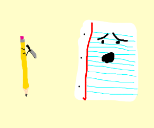 Pencil had enough of Paper, so he killed him.