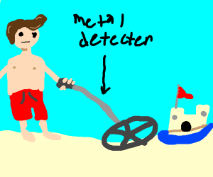 A guy metal detecting at beach