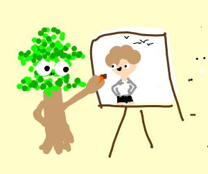 Tree drawing Bob Ross