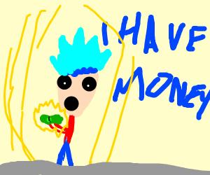 Blue hair boy suprised got money.
