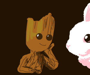 Groot talking to a bunny rabbit
