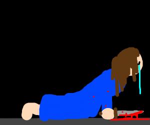 Sad woman with knife