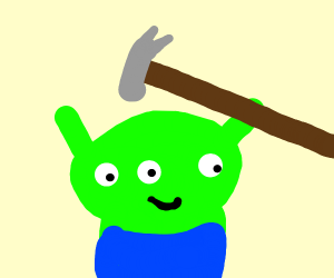 Three eyed alien gets whacked by hammer