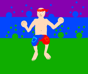 guy in red blue shorts and red bandana