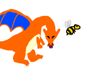 Charizard eating bee poop