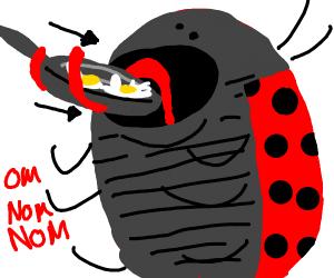 Ladybug eats frying pan with eggs