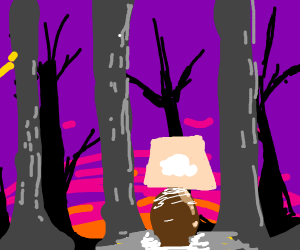 A lamp in the woods