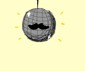 Disco ball with mustache