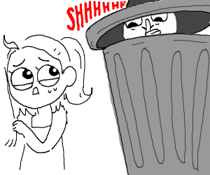 Person in trash can shushing