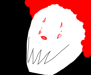 The bloodied clown smiled with jagged teeth