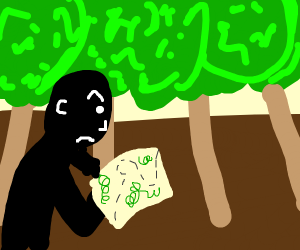 lost man walking through a forest