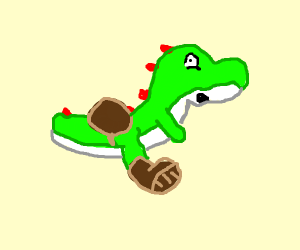 Yoshi but his red saddle and shoes are brown