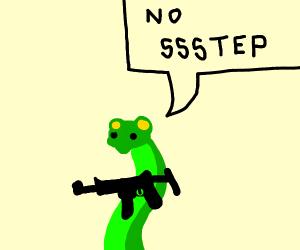 Snake with gun said no step