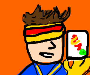 Cyclops (X-men) playing uno with crazy hair