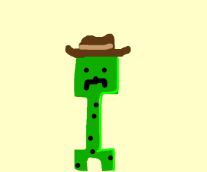 creeper with black spots and cowboy hat