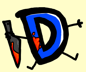 drawception logo holding a bloody knife