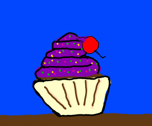 Cupcake with a lopsided cherry
