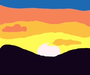 Hilly Landscape at Sunset