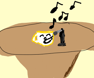 happy white cup sings a song