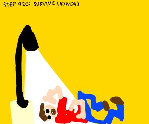 Step 419: Fall off said lamp post