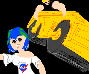 earth-chan is running from a steam roller