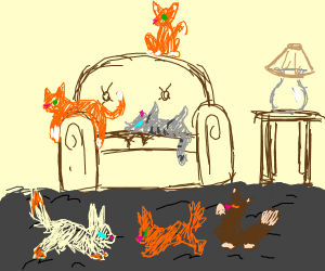 living room full o' cats