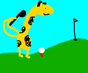 a giraffe playing golf