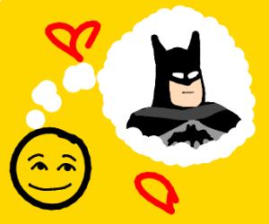 Man thinking of batman with hearts