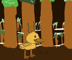 Smelly duck in a forest