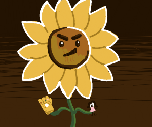 Sunflower with infinity gauntlet holds woman