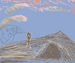 cave woman hates clouds
