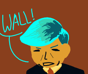 donald trump with cyan hair