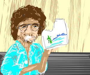 Bob ross eats his painting