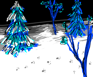 Icy and dark forest