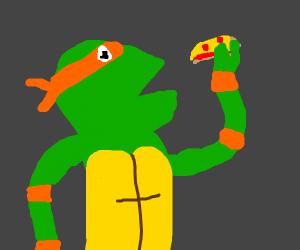 Teenage mutant ninja turtle eats pizza