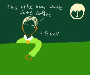 Little boy wants some coffee