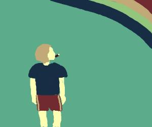 kazoo kid looking at rainbow