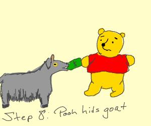 Step 7: goat eats Pooh's money instead