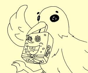 a bird eats spongebob