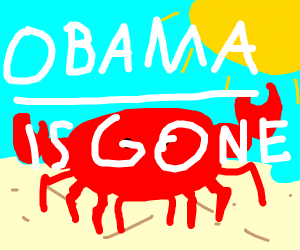 A crab celebrating that Obama is gone
