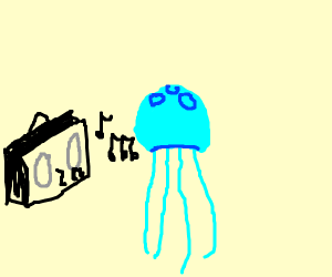 Jelly fish jamming out to music