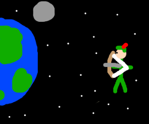 Robin Hood shoots the Earth.