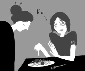 woman saying no to grandma food