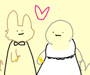 A seal marrying a rabbit