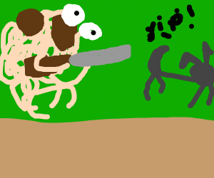 the flying spaghetti monster hunts a wolf