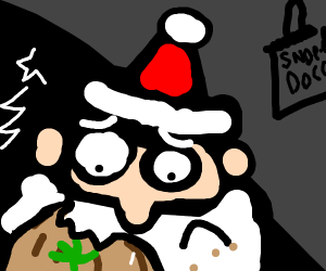 santa eats marijuana cookie