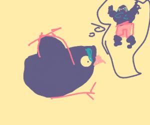 Fat bird holding a stick
