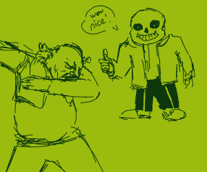 Sans is amazed at shreks dabbing