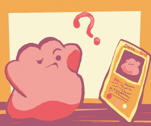 A pink something staring at card in disbelief